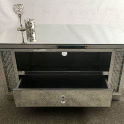 Floating Crystal Mirrored 1 Drawer TV Cabinet