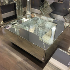 Floating Crystal Mirrored & Black Coffee Table