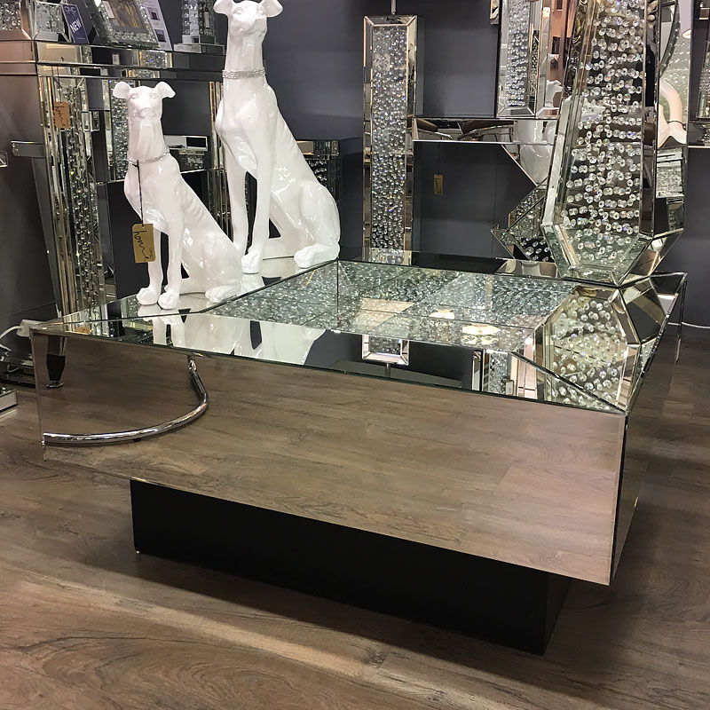 Silver Glass Coffee Table Uk: Floating Crystal Mirrored & Black Coffee Table