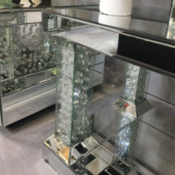 Floating Crystal Mirrored Pedestal End Table