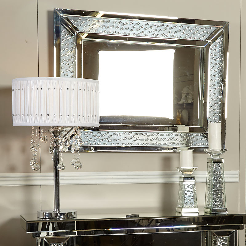 Floating Crystal Rectangle Wall Mirror Large Picture