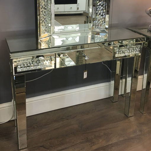Floating Crystal Single Drawer Mirrored Dressing Table