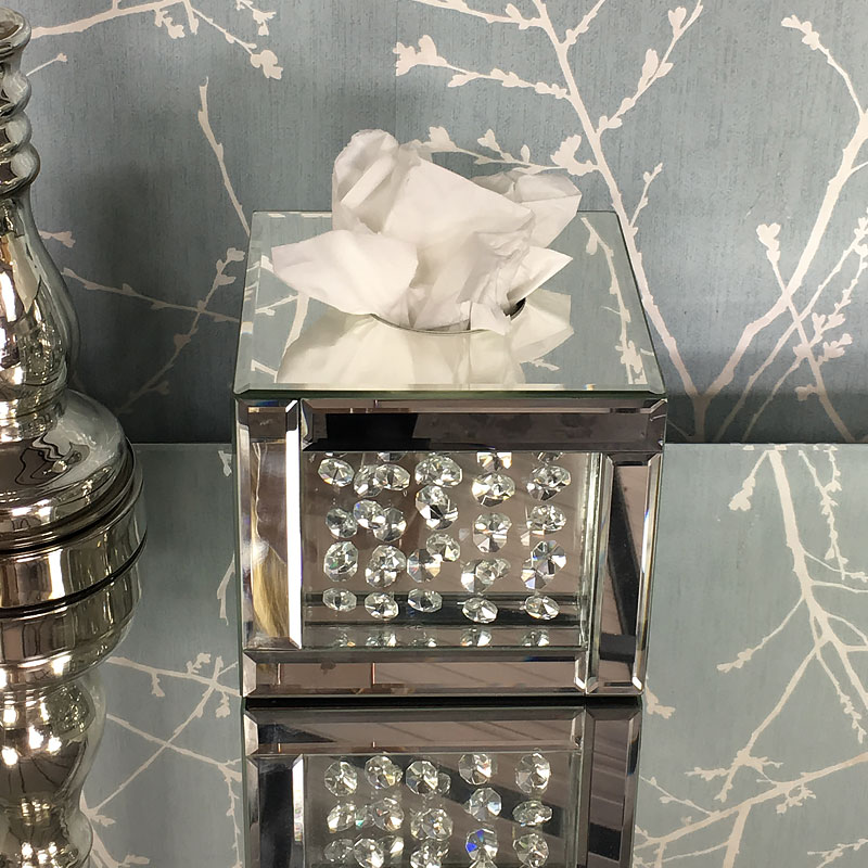 Floating Crystal Square Mirrored Tissue Box Cover
