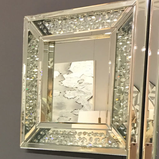 Floating Crystal Square Wall Mirror