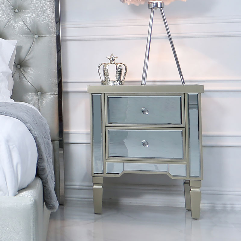 Georgia Champagne Luxe Mirrored 2 Drawer Bedside Cabinet Picture Perfect Home
