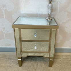 Georgia Champagne Luxe Mirrored 2 Drawer Bedside Cabinet Bedside Table