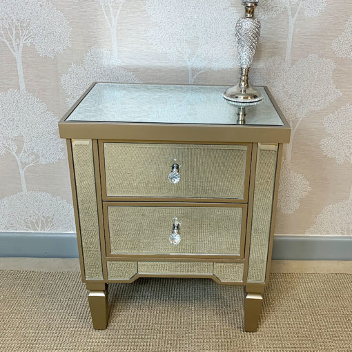 Georgia Champagne Luxe Mirrored 2 Drawer Bedside Cabinet