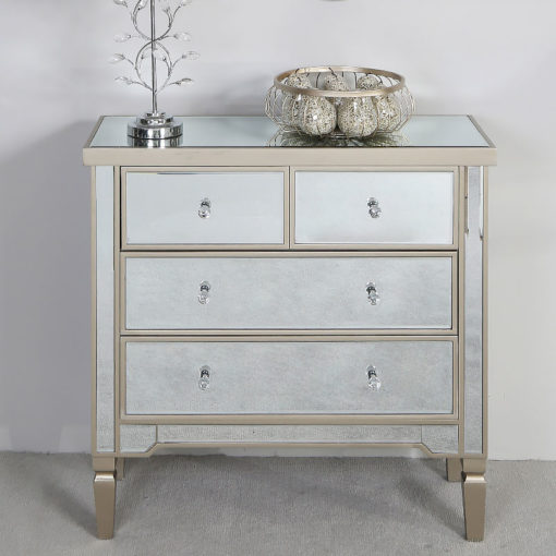 Georgia Champagne Luxe Mirrored 4 Drawer Bedroom Chest Of Drawers