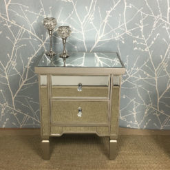 Georgia Mirrored 2 Drawer Bedside Cabinet