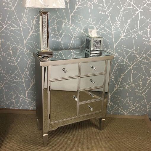 Georgia Antique Silver Mirrored 5 Drawer 1 Door Cabinet