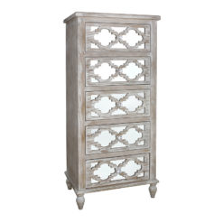 Hampton 5 Drawer Mirrored Tallboy