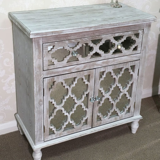 Hampton Mirrored 1 Drawer 2 Door Cabinet