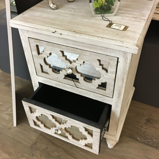 Hampton Mirrored 2 Drawer Bedside Cabinet
