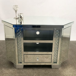 Corner Floating Crystal Mirrored 1 Drawer TV Cabinet