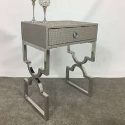 Light Taupe Basket Weave End Table