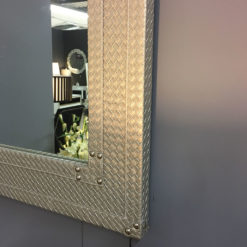 Light Taupe Faux Leather Basket Weave Wall Mirror
