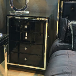 Madison Black Glass 4 Drawer Mirrored Cabinet