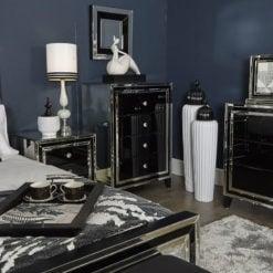 Madison Black Glass 4 Drawer Cabinet