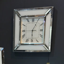 Madison White Glass Mirrored Wall Clock