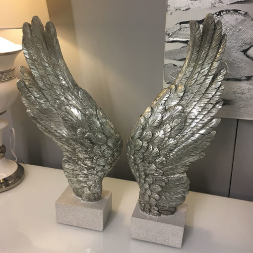 Pair of Antique Silver Distressed Angel Wings