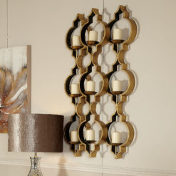 Sahara Marrakech Moroccan Gold 9 Tealight Wall Sconce