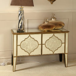 Sahara Marrakech Moroccan Gold Mirrored 2 Door Cabinet Sideboard