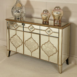 Sahara Gold Mirrored 3 Drawer 3 Door Sideboard