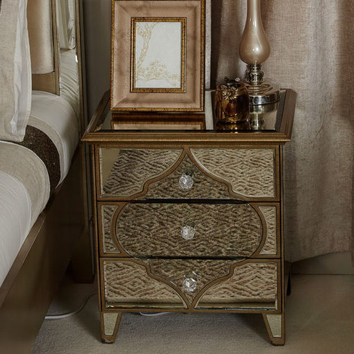 Sahara Marrakech Moroccan Gold Mirrored 3 Drawer Bedside Table Cabinet