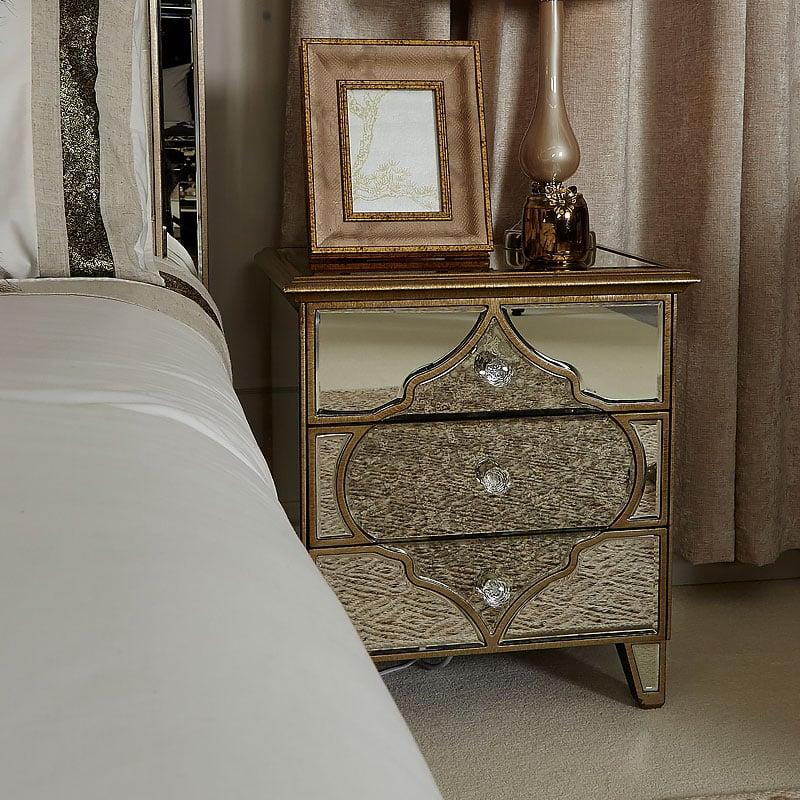 Sahara Marrakech Moroccan Gold Mirrored 3 Drawer Bedside