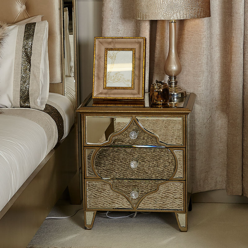 Sahara Marrakech Moroccan Gold Mirrored 3 Drawer Bedside