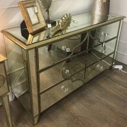 Sahara Gold Mirrored 6 Drawer Cabinet