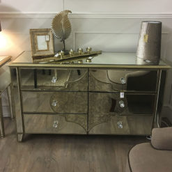 Sahara Marrakech Moroccan Gold Mirrored 6 Drawer Cabinet