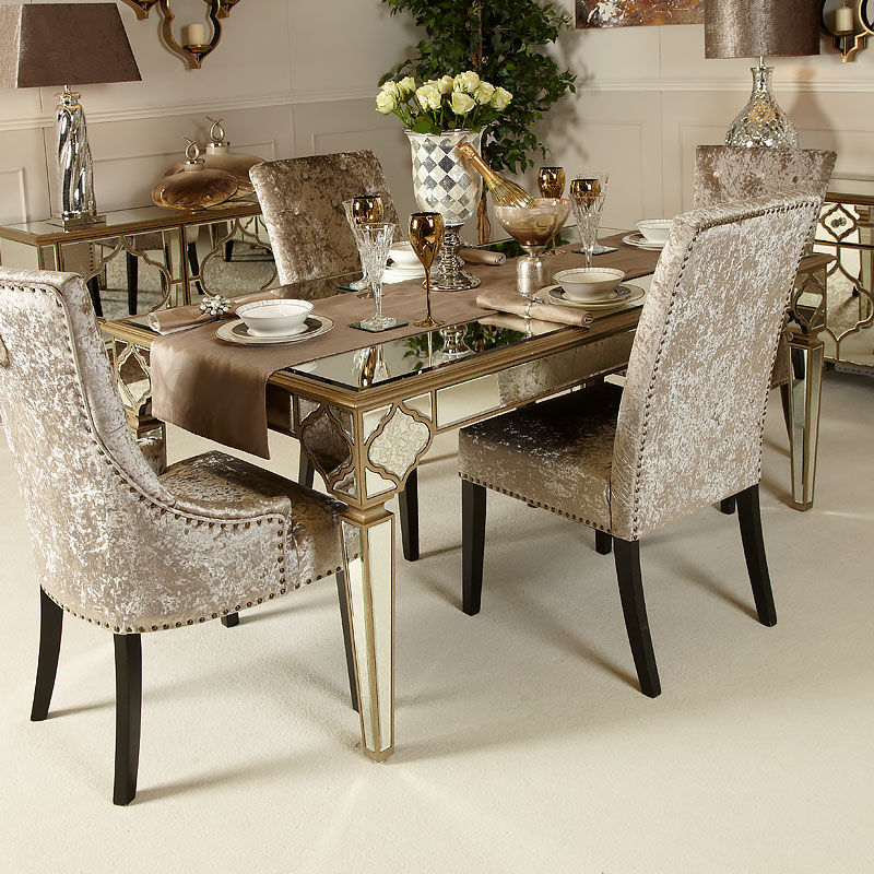 Sahara Marrakech Moroccan Gold Mirrored Dining Table Picture Perfect Home