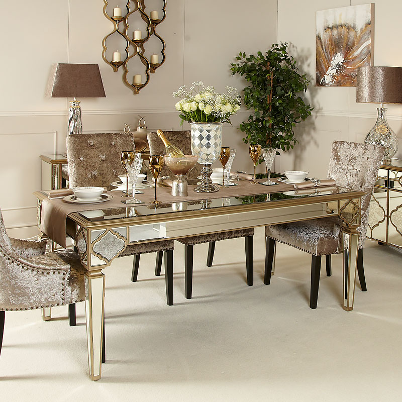 sahara marrakech moroccan gold mirrored dining table picture rh pictureperfecthome co uk mirrored kitchen table mirrored round kitchen table