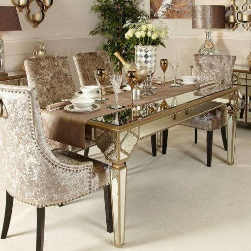 Sahara Marrakech Moroccan Gold Mirrored Dining Table