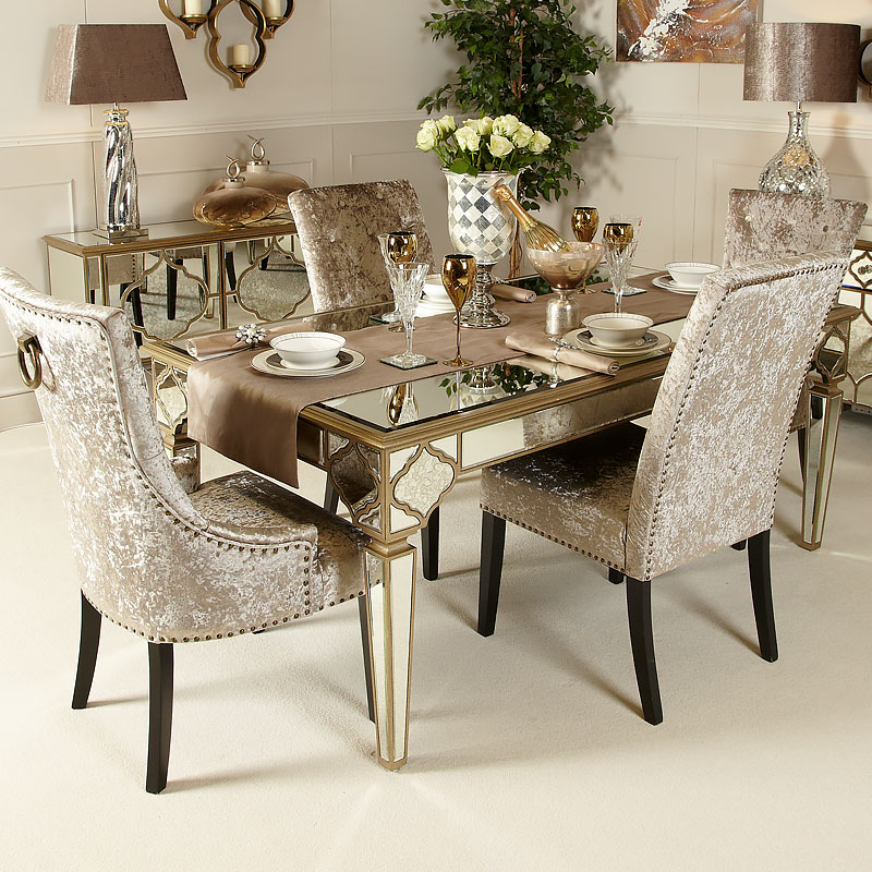 Gold Dining Tables ~ Sahara marrakech moroccan gold mirrored dining table
