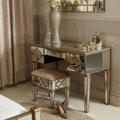 Sahara Marrakech Moroccan Gold Mirrored Dressing Console Table