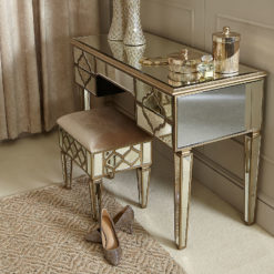 Sahara Gold Mirrored Dressing Console Table