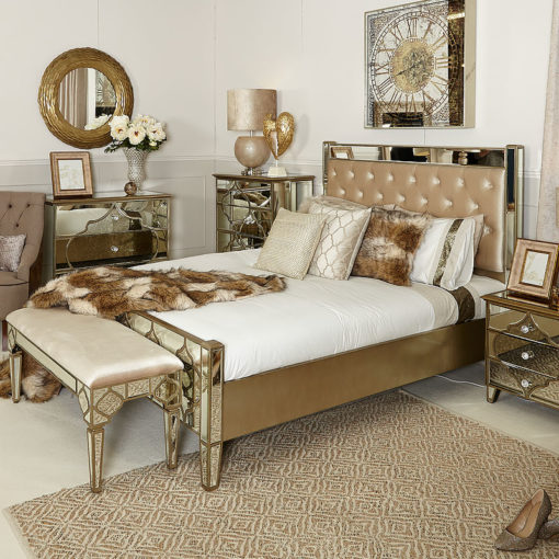 Sahara Marrakech Moroccan Gold Mirrored King Size Bed Frame