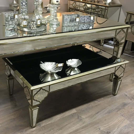 Sahara Marrakech Moroccan Gold Mirrored Low Coffee Table