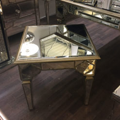 Sahara Gold Mirrored Square End Table