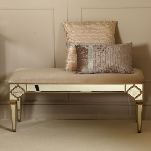 Sahara Marrakech Moroccan Gold Mirrored Upholstered Bench