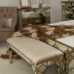 Sahara Gold Mirrored Upholstered Bench