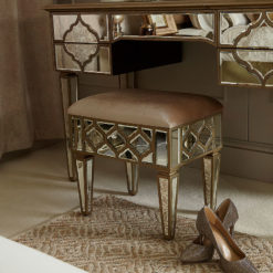 Sahara Marrakech Moroccan Gold Mirrored Upholstered Stool