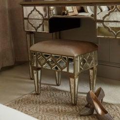 Sahara Gold Mirrored Upholstered Stool
