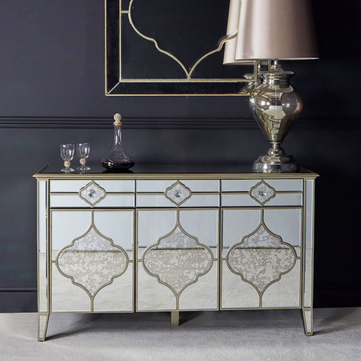 Sahara Marrakech Moroccan Gold Mirrored 3 Drawer 3 Door Sideboard