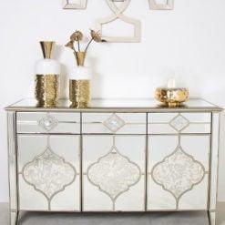 Sahara Marrakech Moroccan Gold Mirrored 3 Drawer 3 Door Sideboard