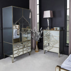 Sahara Marrakech Moroccan Gold Mirrored 4 Drawer Chest Of Drawers