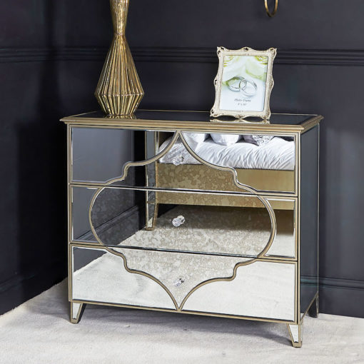 Sahara Marrakech Moroccan Gold Mirrored Large 3 Drawer Chest
