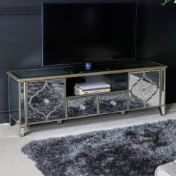 Sahara Marrakech Moroccan Gold Mirrored TV Entertainment Cabinet
